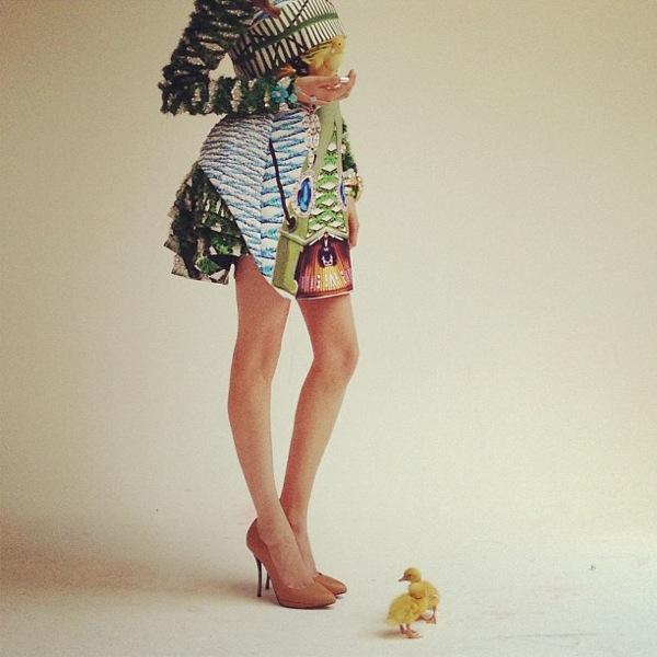 Ducklings with dress by Mary Katrantzou and jewellery by Van Cleef and Arpels