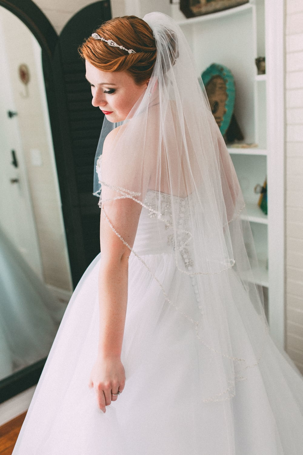 Up The Creek Farms, Palm Bay, Brevard County FL Wedding, bridal suite, bride with veil photo
