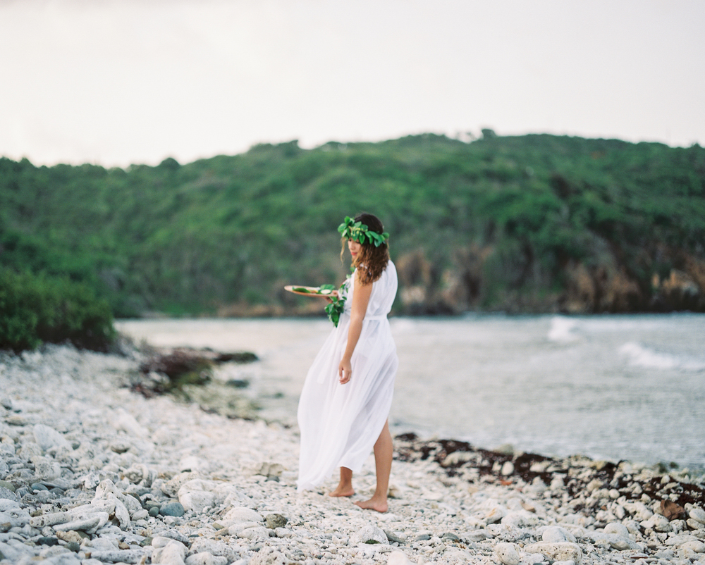 usvi st. thomas, water island tropical beach model engagement photo