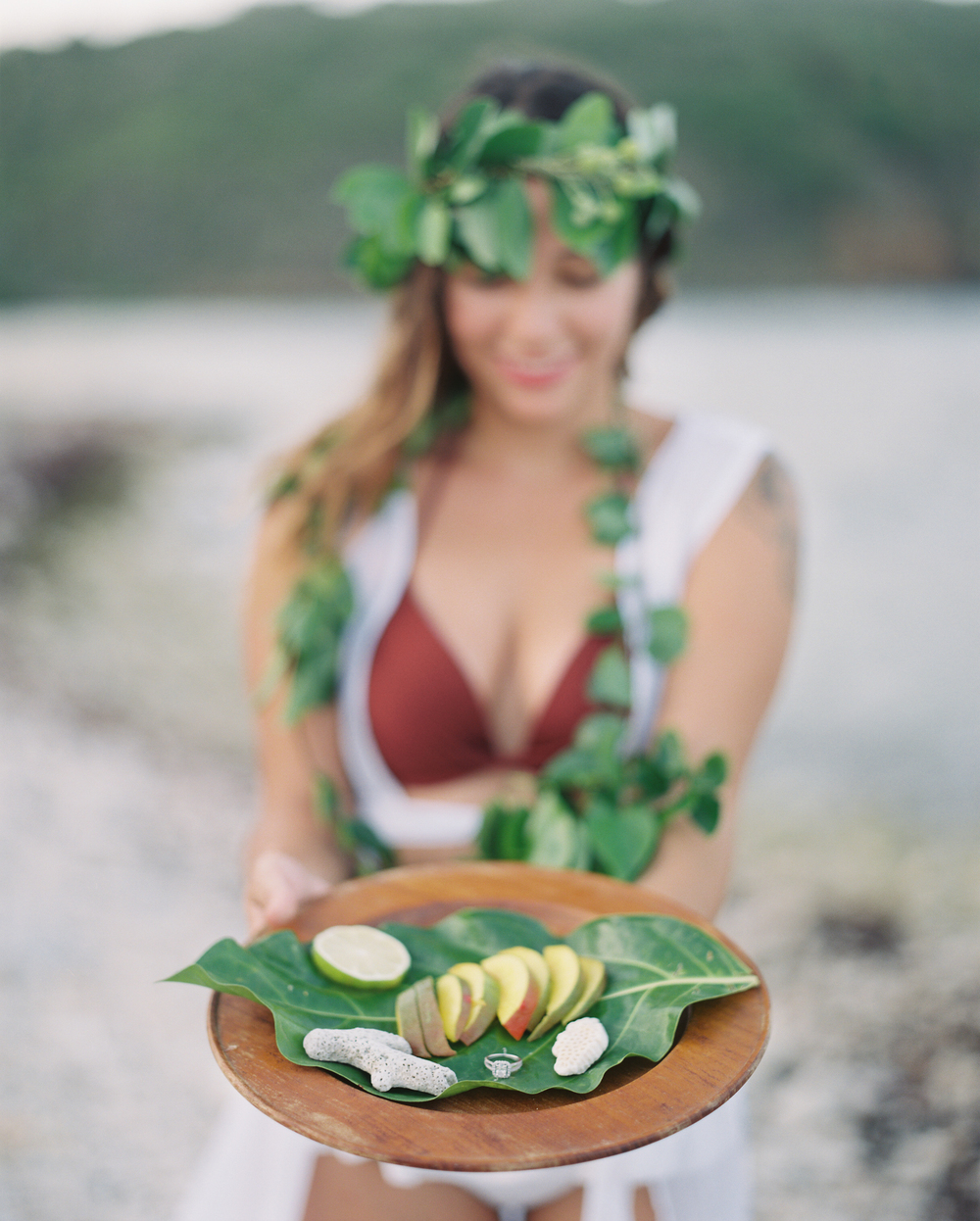 usvi st. thomas, water island tropical beach photo shoot mango & leaf crown