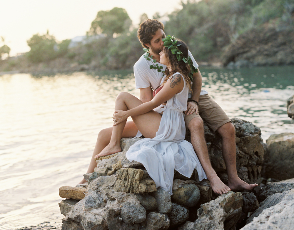 usvi st. thomas, water island, honeymoon beach engagement photo