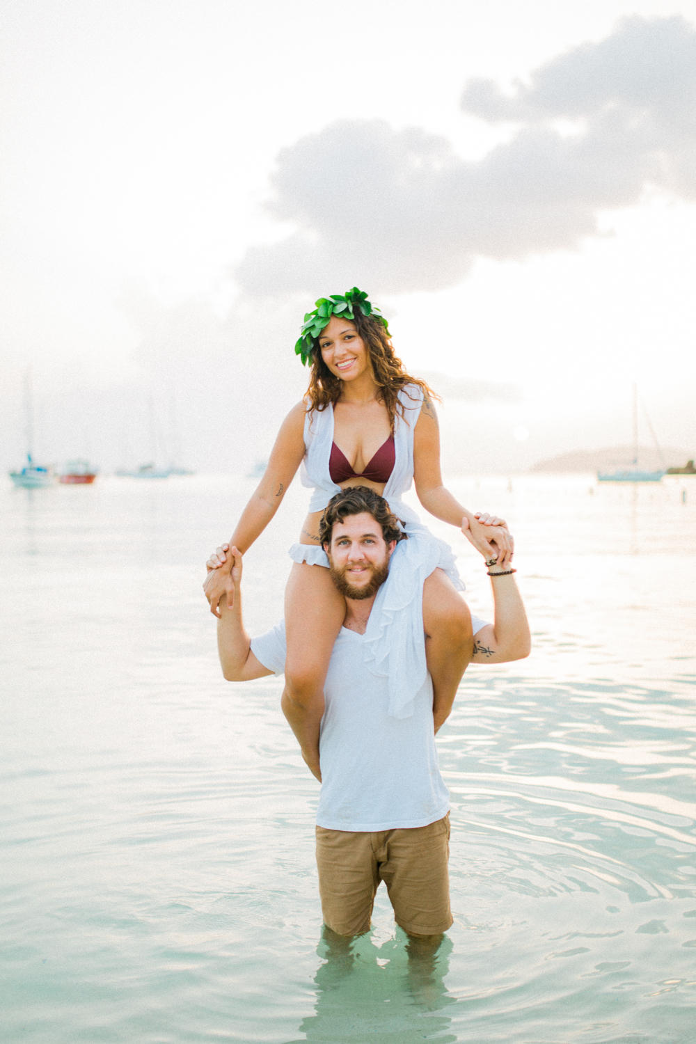 usvi st. thomas, water island honeymoon beach engagement photography at sunset