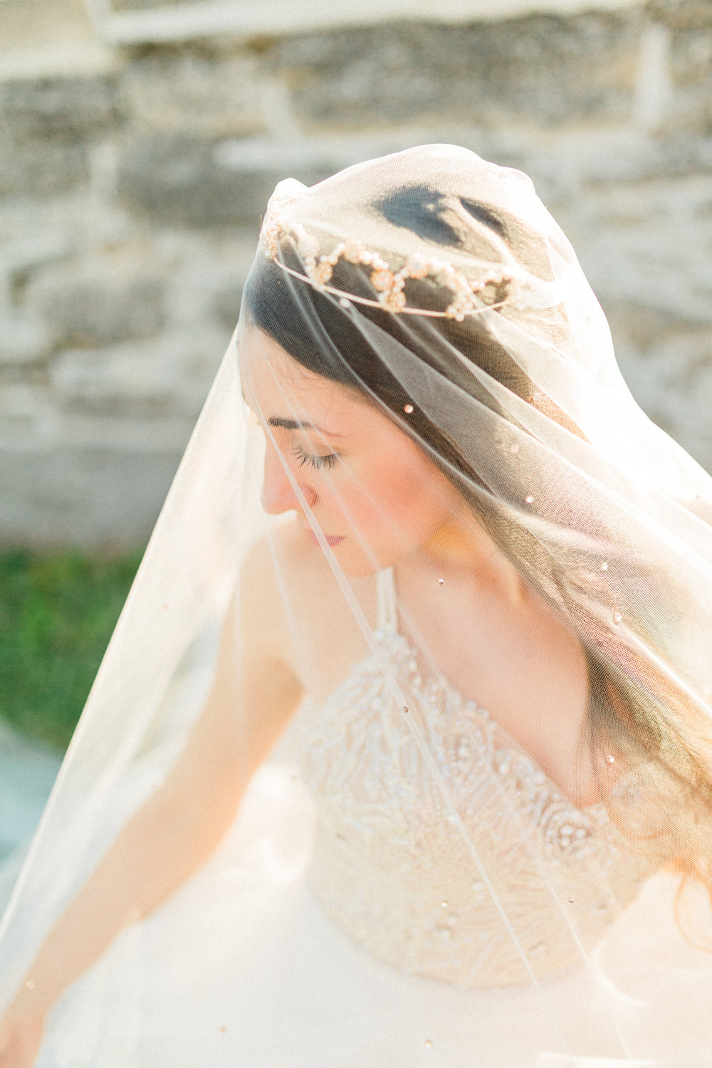 St. augustine, castillo de san marcos styled wedding bridal photo, bride with veil