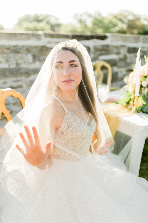 St. augustine, castillo de san marcos styled wedding bridal photo, fine art bride with veil