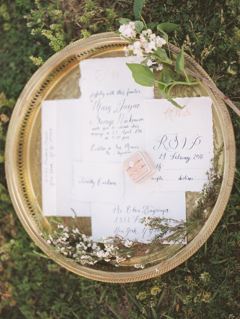 St. augustine, castillo de san marcos styled wedding bridal photo, invitation details