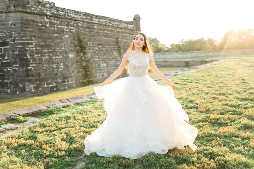 St. augustine, castillo de san marcos styled wedding bridal photo, bride in wedding dress, fine art