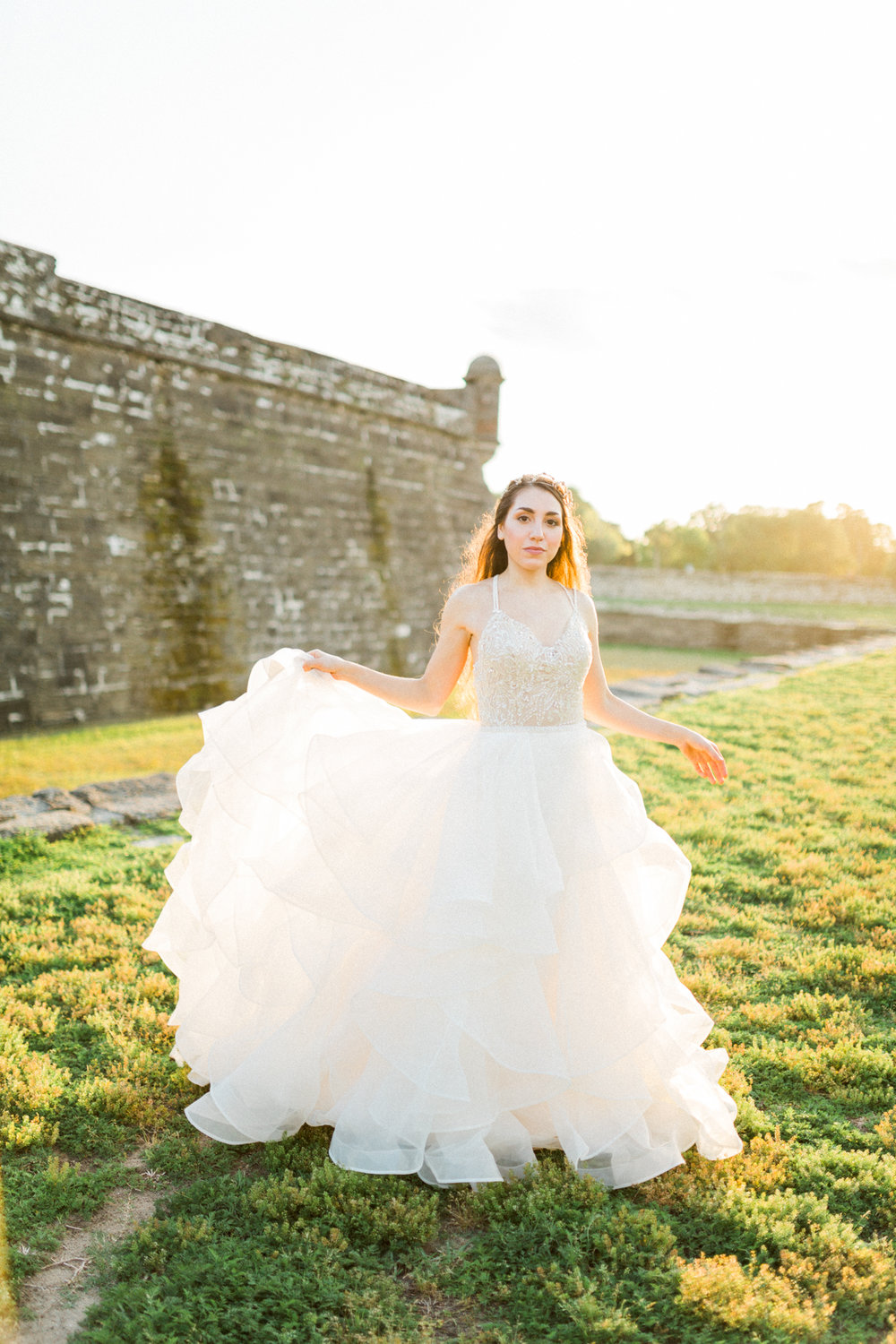 St. augustine, castillo de san marcos styled wedding bridal photo