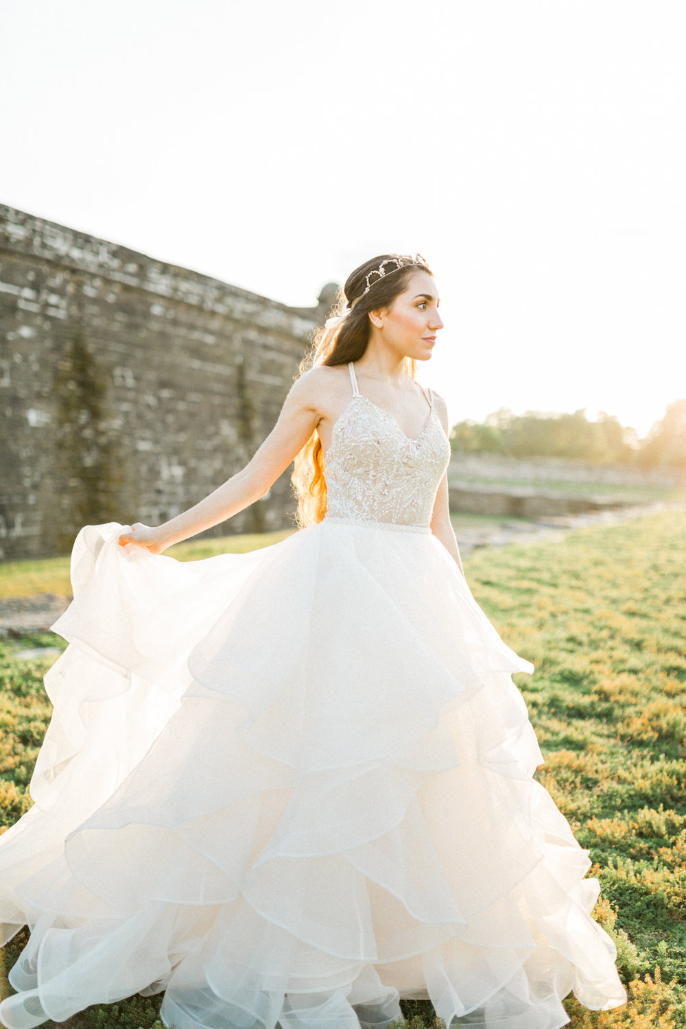 St. augustine, castillo de san marcos styled wedding bridal photo, bride in wedding dress, sunset
