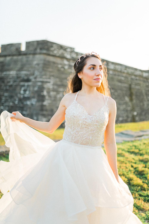 St. augustine, castillo de san marcos styled wedding bridal photo