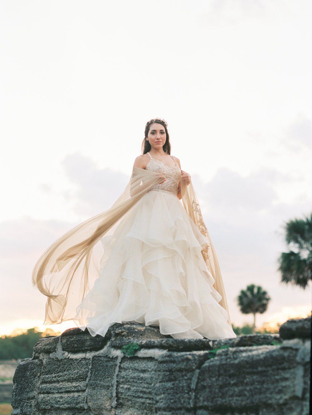 St. augustine, castillo de san marcos styled wedding bridal photo, wedding dress sunset