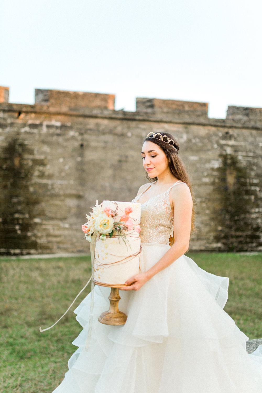 St. augustine, castillo de san marcos styled wedding bridal photo, cake