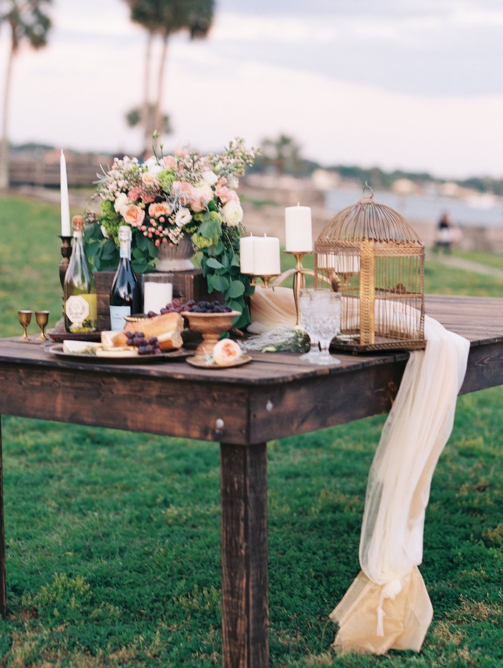 St. augustine, castillo de san marcos styled wedding bridal photo, food table