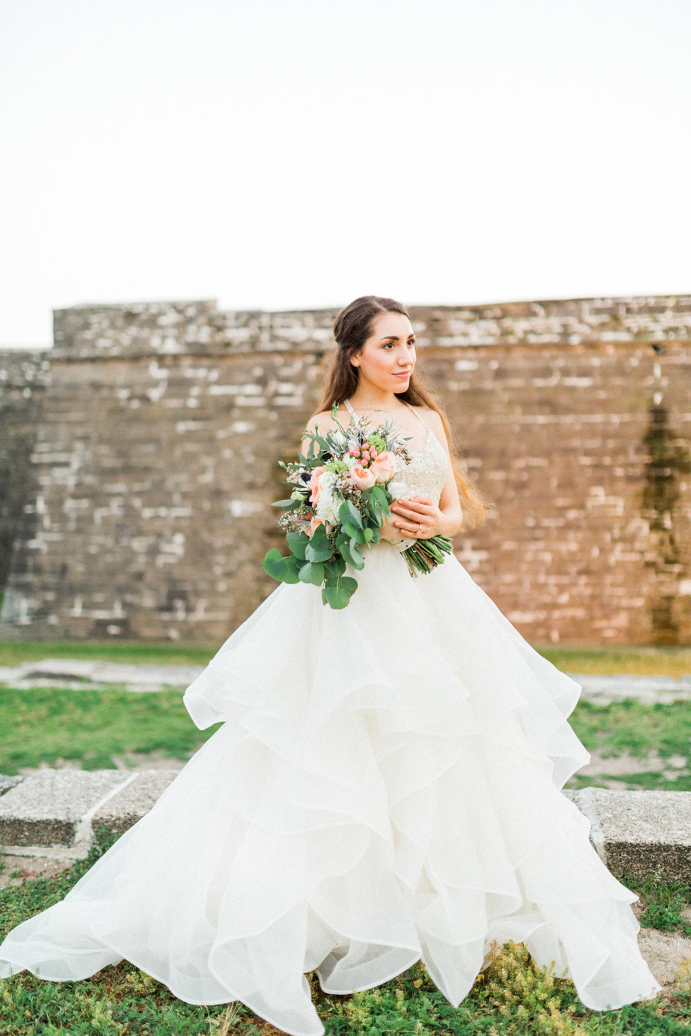 St. augustine, castillo de san marcos styled wedding bridal photo, bride with flowers