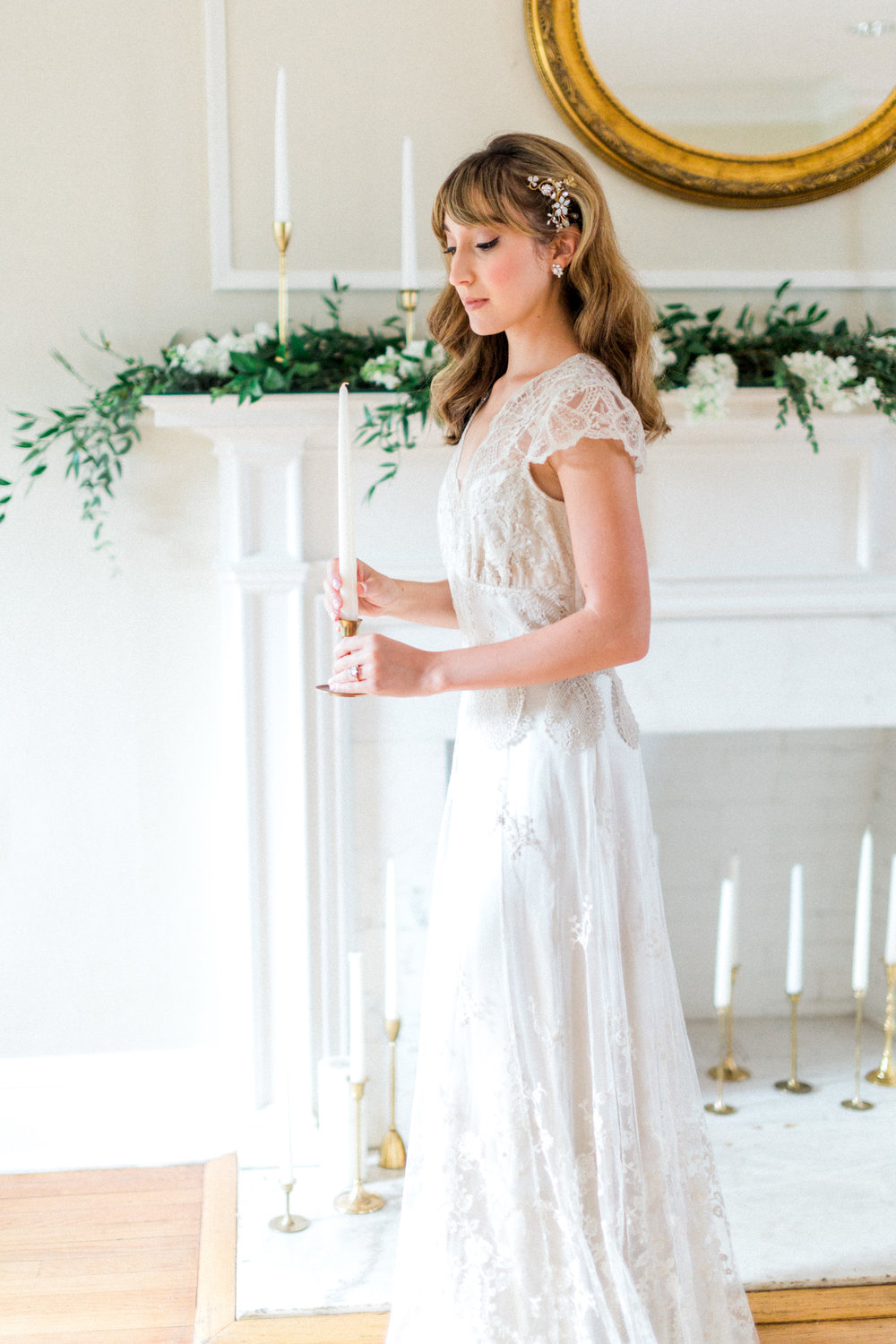 the cypress grove estate house in orlando florida, styled wedding bridal photo in wedding dress