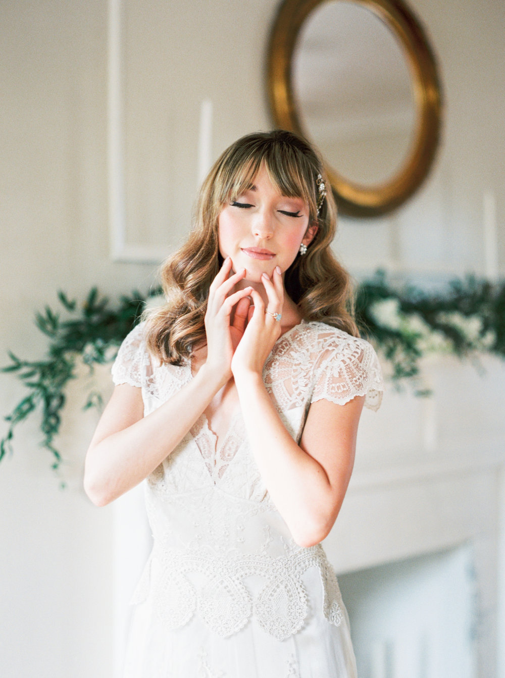 the cypress grove estate house in orlando florida, styled wedding bridal photo in claire pettibone gown