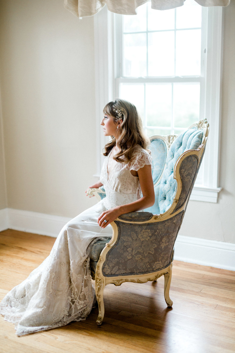 the cypress grove estate house in orlando florida, styled wedding bridal photo in vintage chair