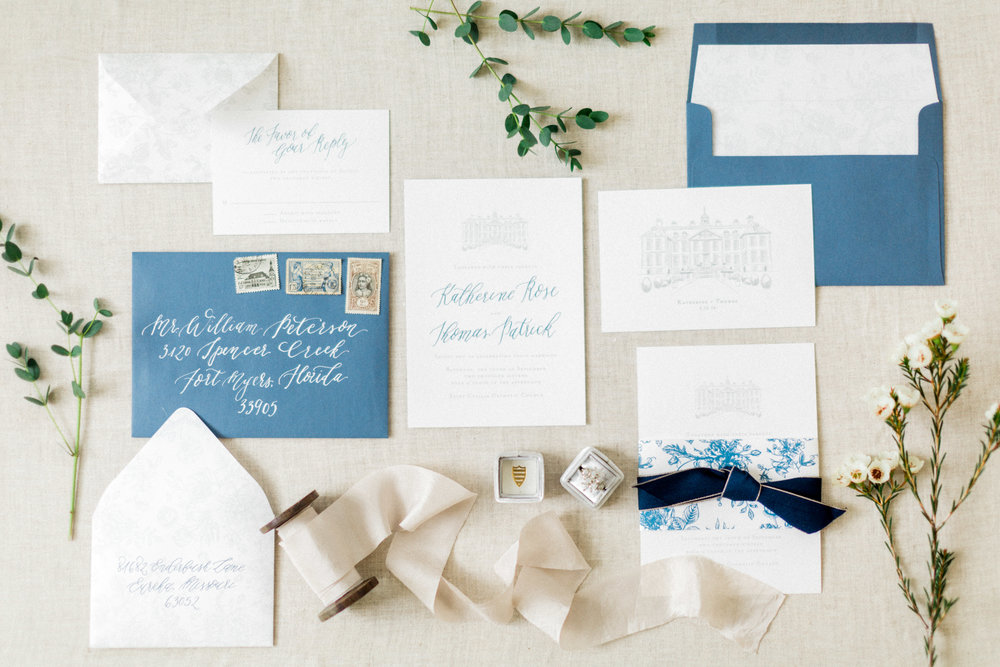 the cypress grove estate house in orlando florida, styled wedding bridal photo, invitation suit, rings and details