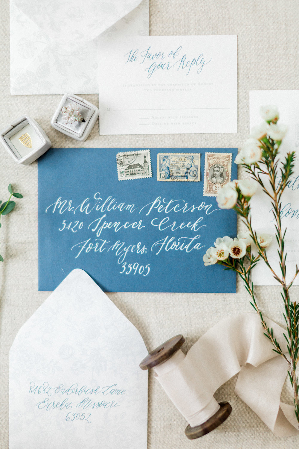 the cypress grove estate house in orlando florida, styled wedding bridal photo with invitation suit, ring and details