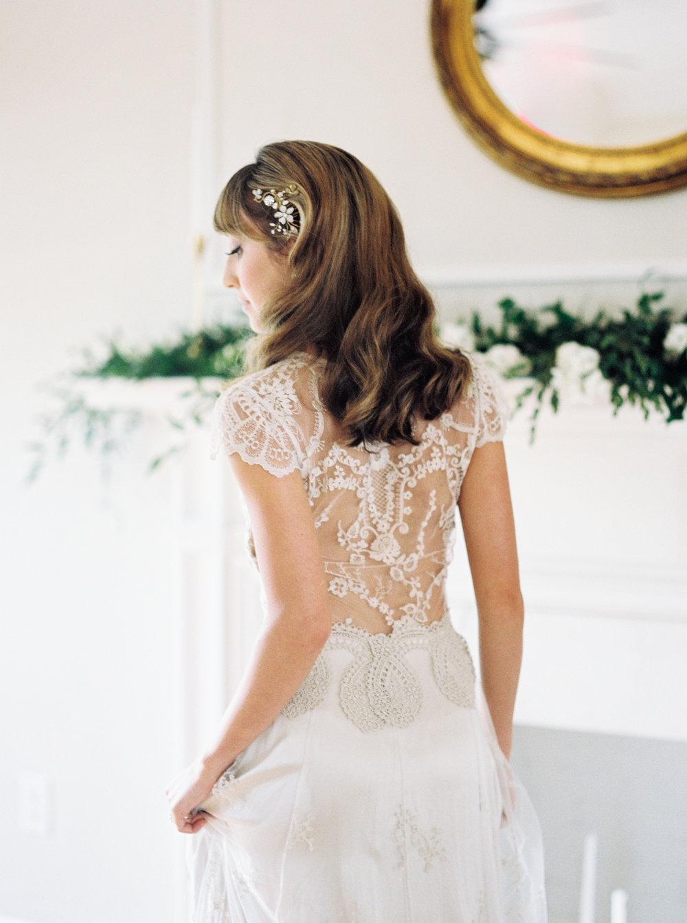 the cypress grove estate house in orlando florida, styled wedding bridal photo, back of lace dress