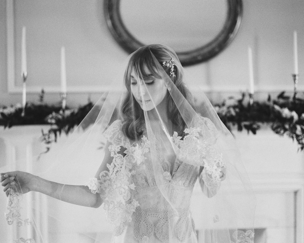 the cypress grove estate house in orlando florida, styled wedding bridal photo in wedding dress, black and white