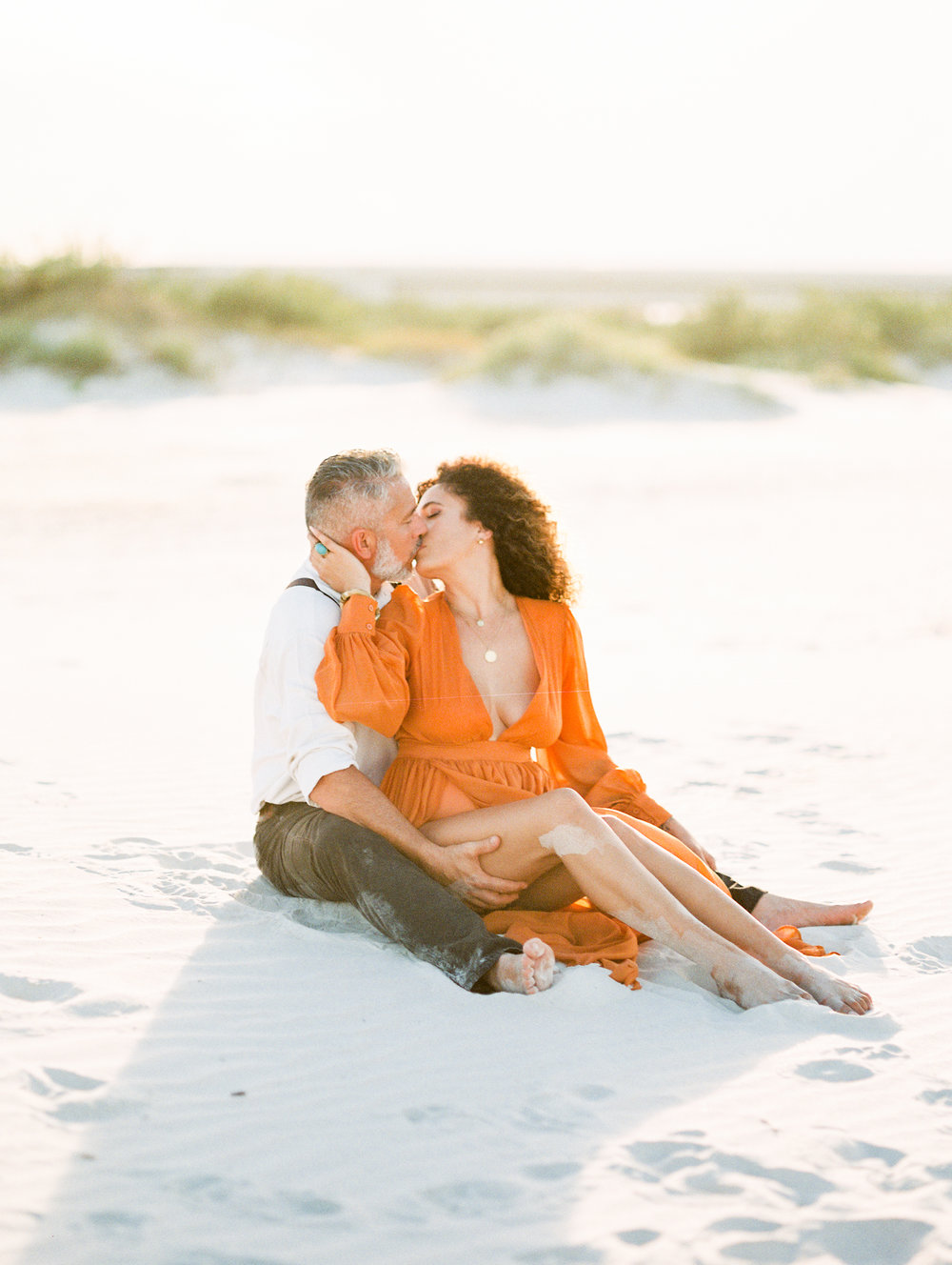 St. Augustine Beach A1A Anniversary Photos of stylish couple. fine art film photography