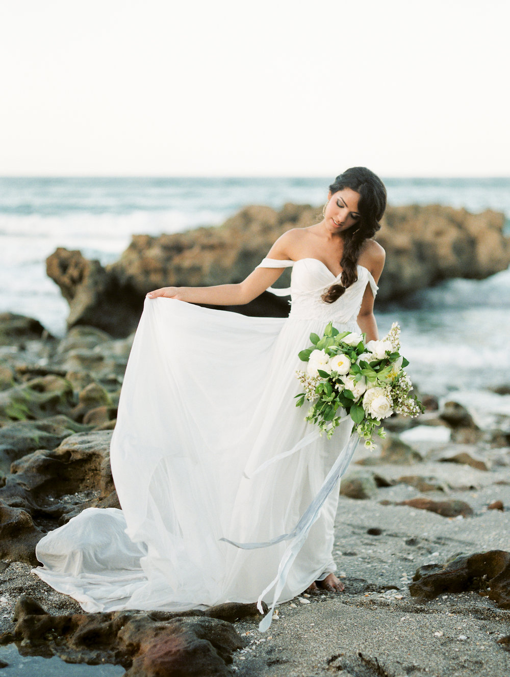 coral cove, jupiter beach FL, palm beach wedding photos, wedding gown dress on bride