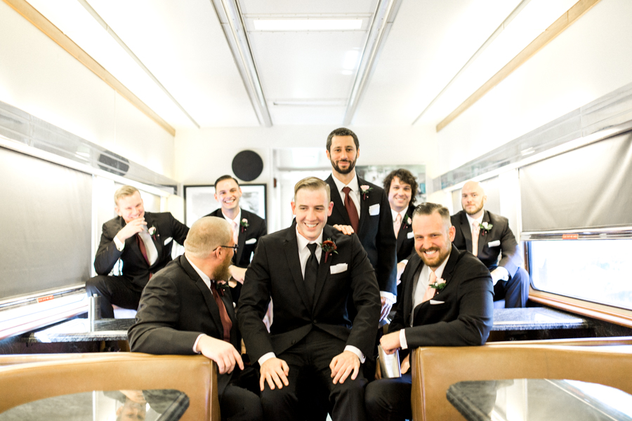 estate on the halifax in daytona beach, port orange fl wedding photos, groomsmen and groom getting ready in train