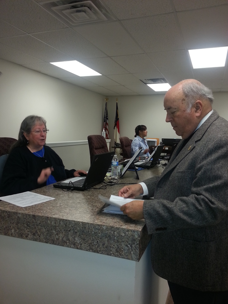 Judge Hunter filing at the North Carolina Board of Elections.