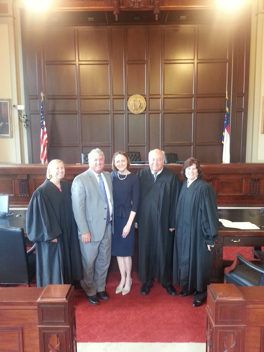 Judge Hunter Swearing in judge Wendy Enochs at the NC Court of Appeals.