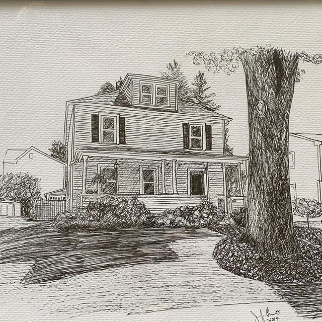 Great sketch for @danihydrangea of her childhood home by Jennifer Guarino. . . . . . #penandink #homes #realestate #sunday #latergram