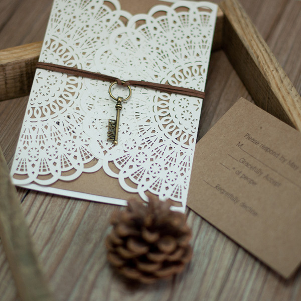 rustic lace laser cut invitation with key