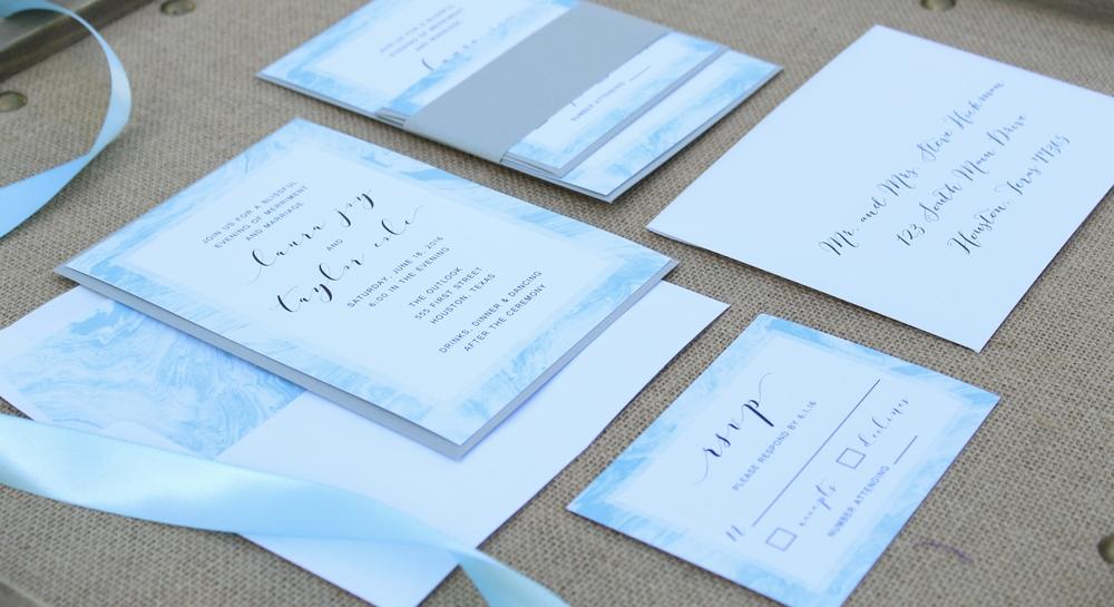 marble blue wedding invitation suite