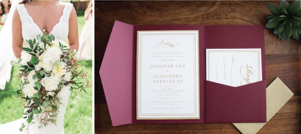 maroon pocket wedding invitation
