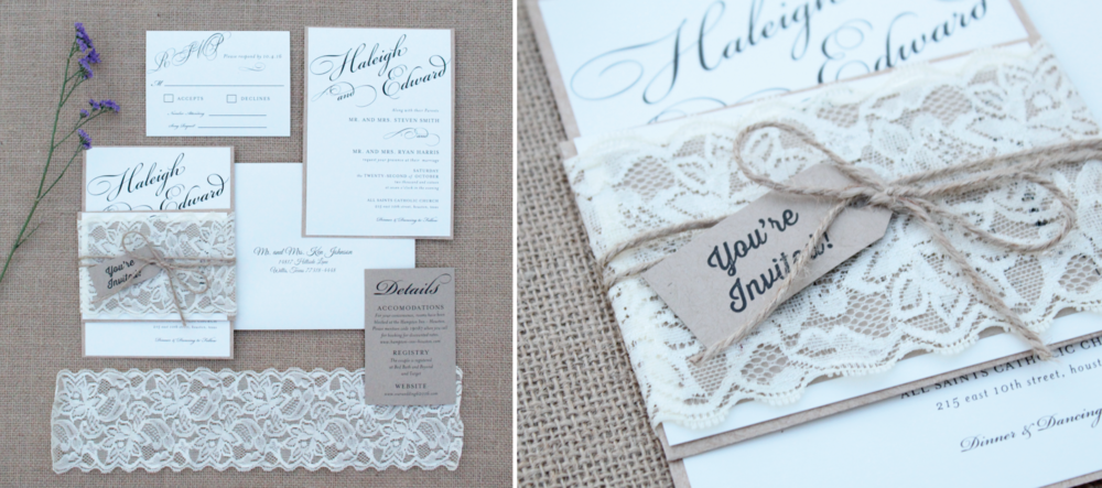 rustic twine and lace wedding invitation suite