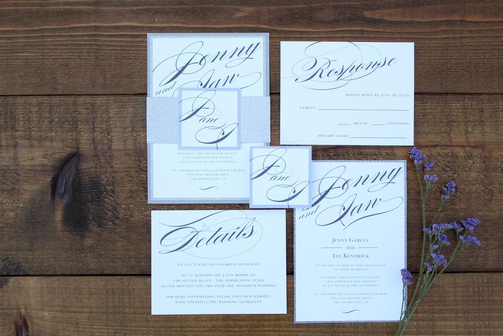 silver glitter script wedding invitation