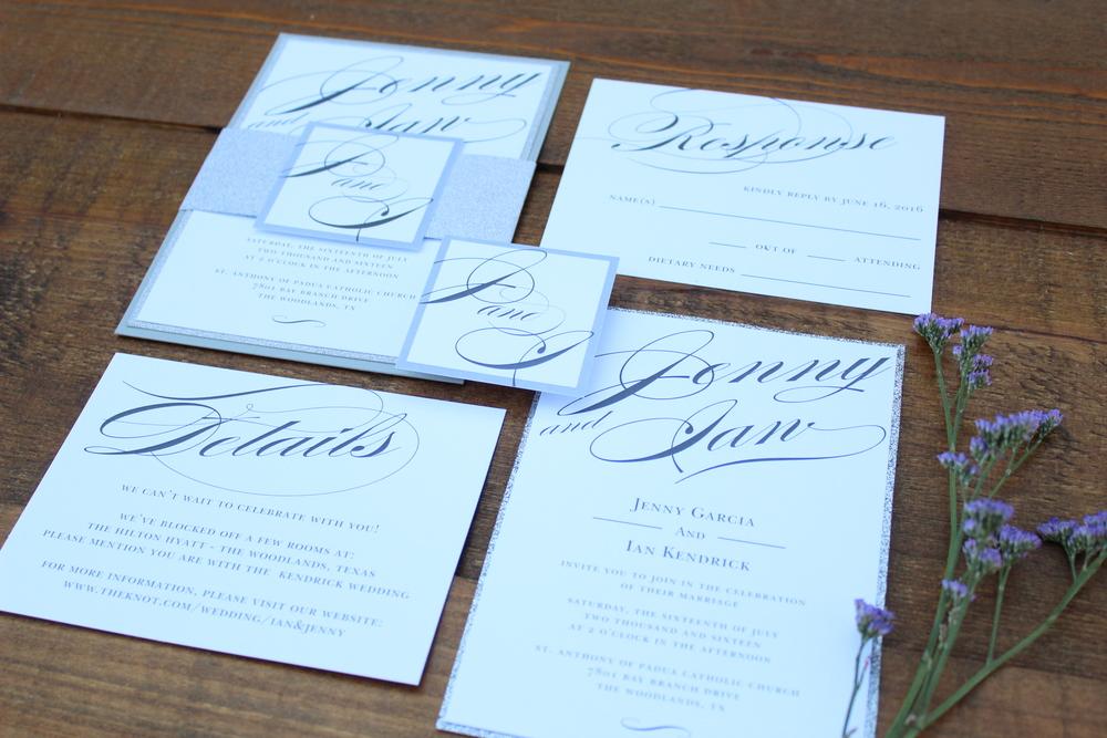 grey and white script invitation