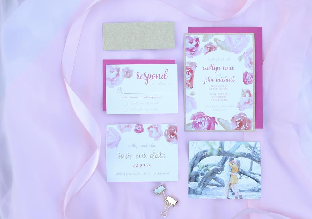 pink floral gold glitter invitation