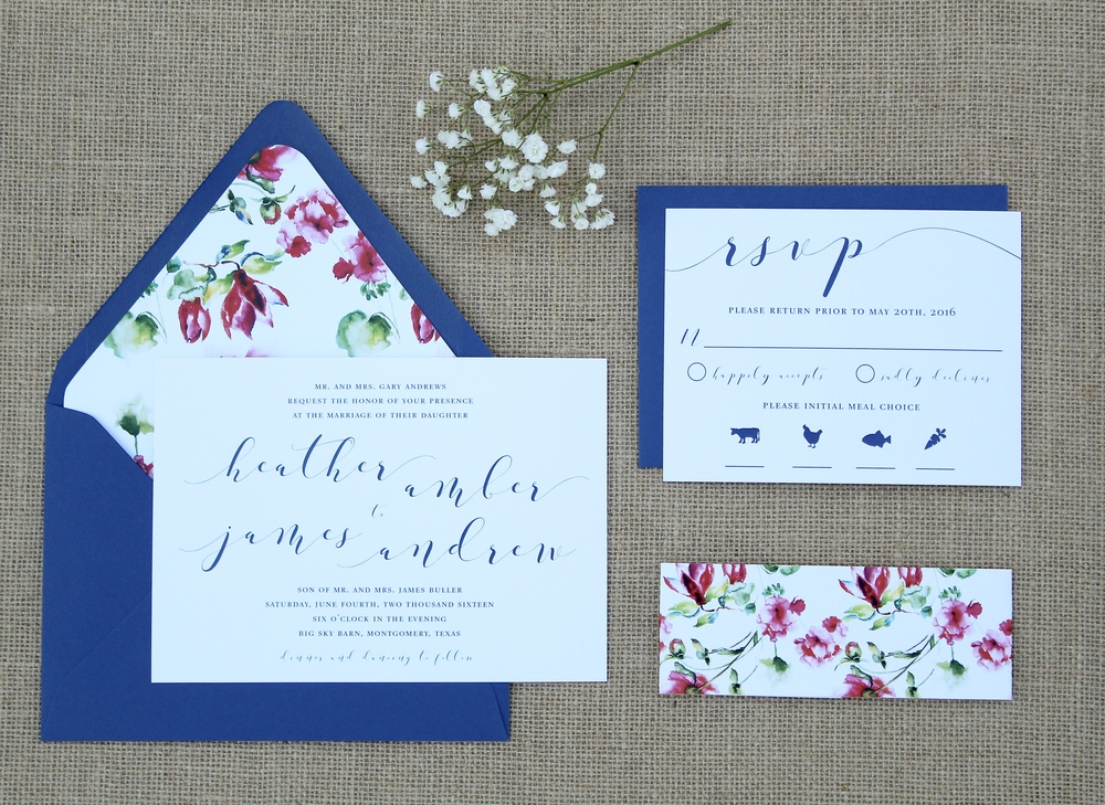 navy and floral wedding invitation