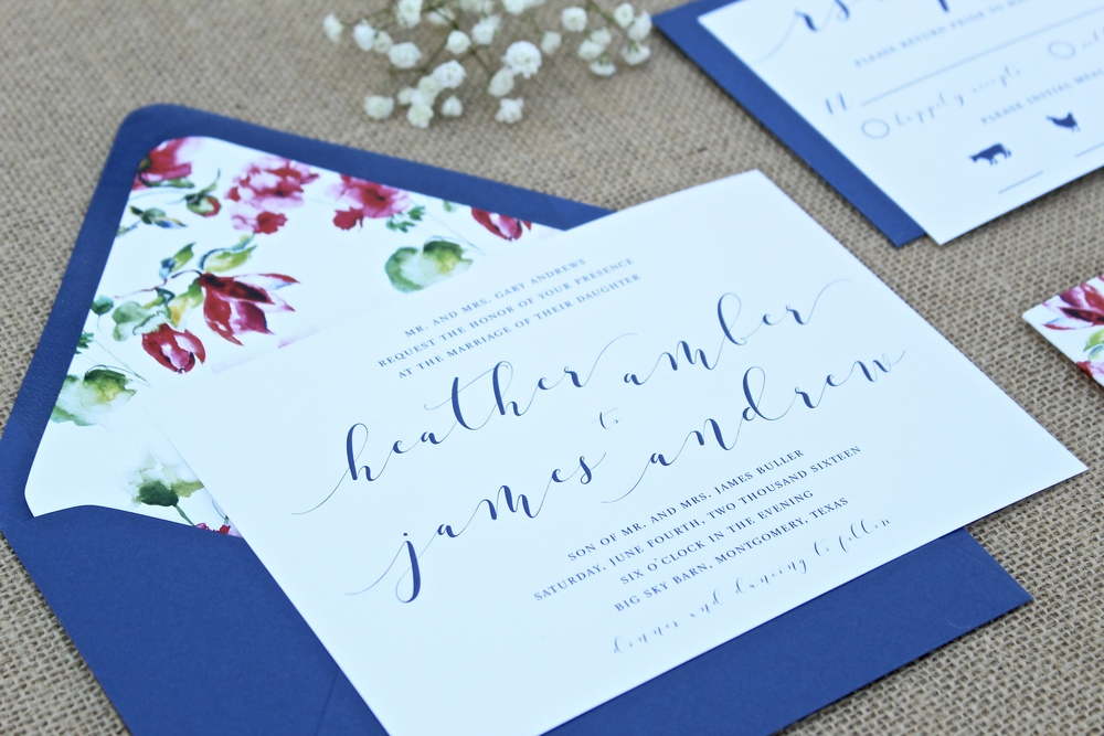 navy calligraphy invitation with envelope liner