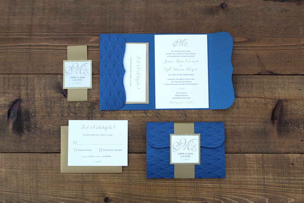 navy and gold pocket wedding invitation with belly band
