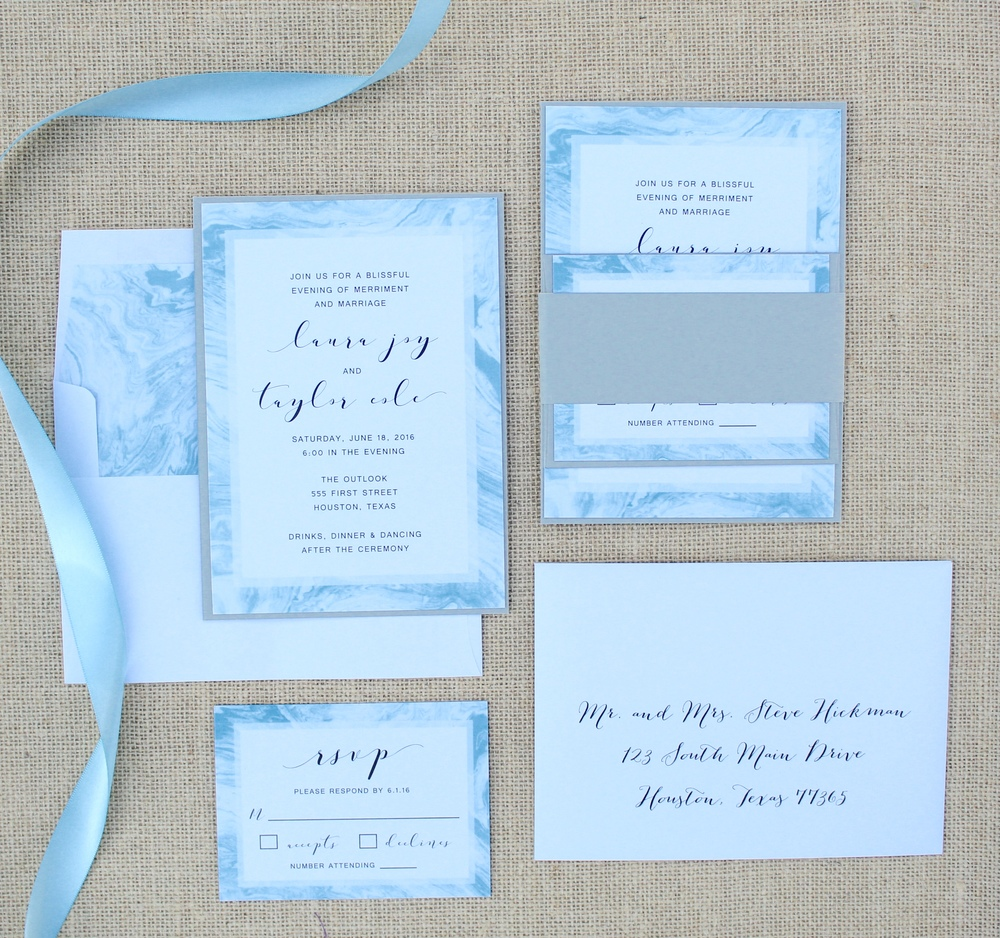marble pattern blue wedding invitation