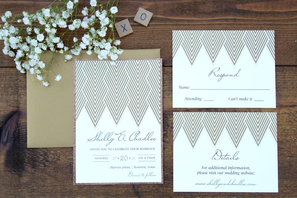 geometric wedding invitation - copper glitter