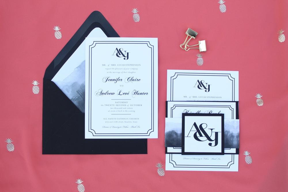 black watercolor monogram wedding invitation
