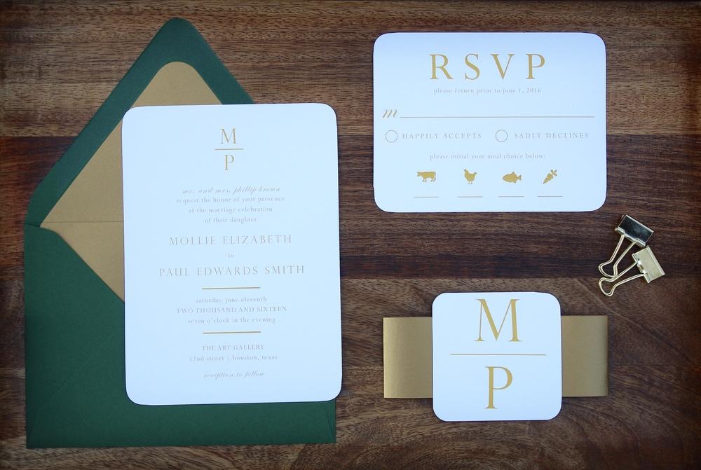 emerald and gold wedding invitation