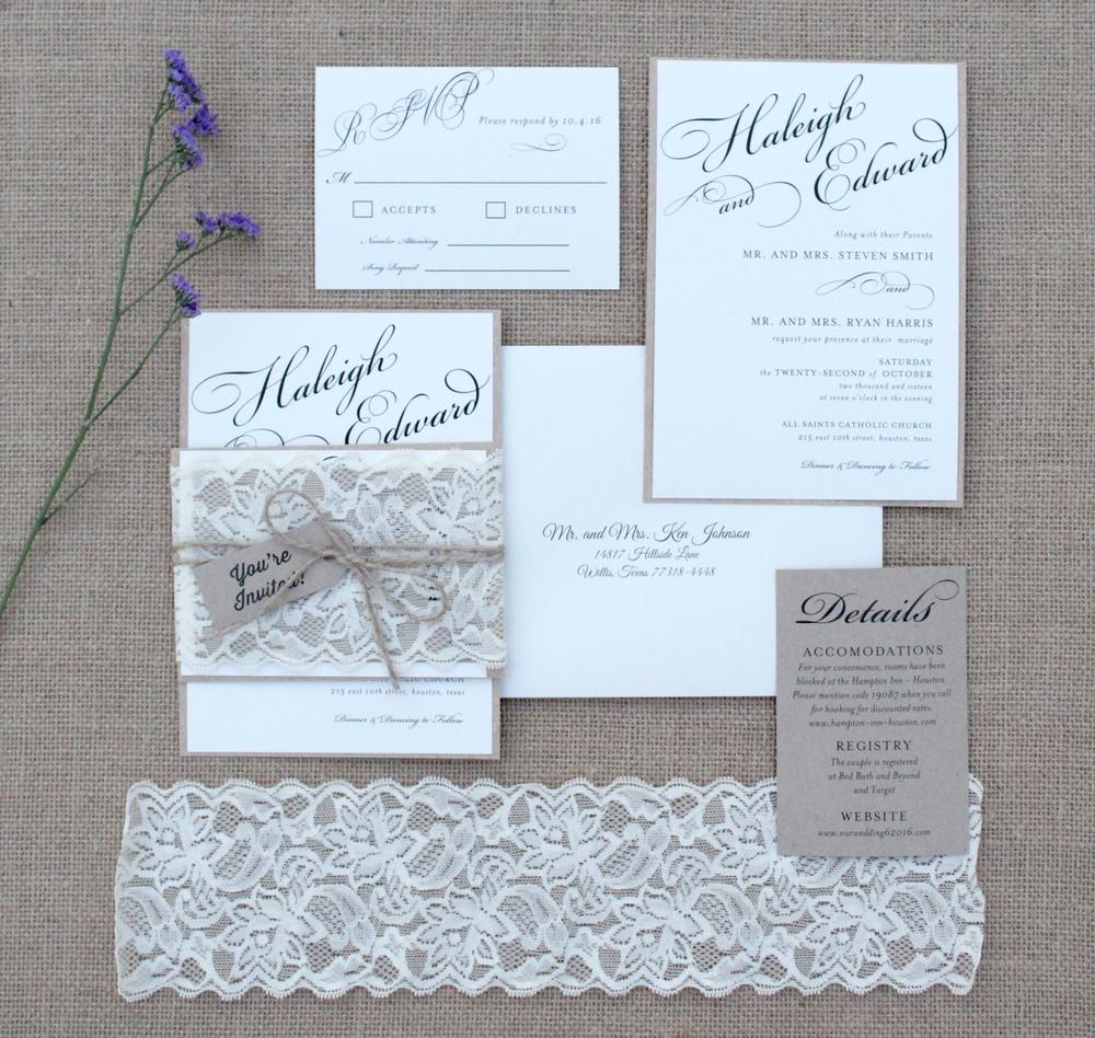 rustic lace chic wedding invitation suite