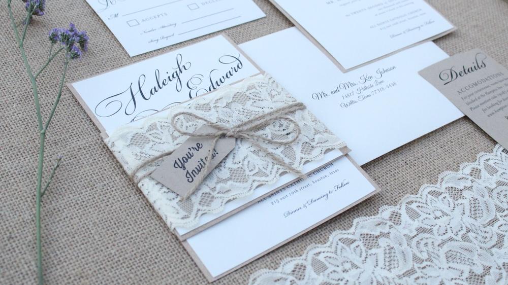 rustic lace and burlap wedding invitation