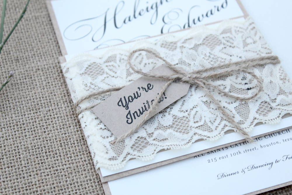 lace and twine invitation wrap