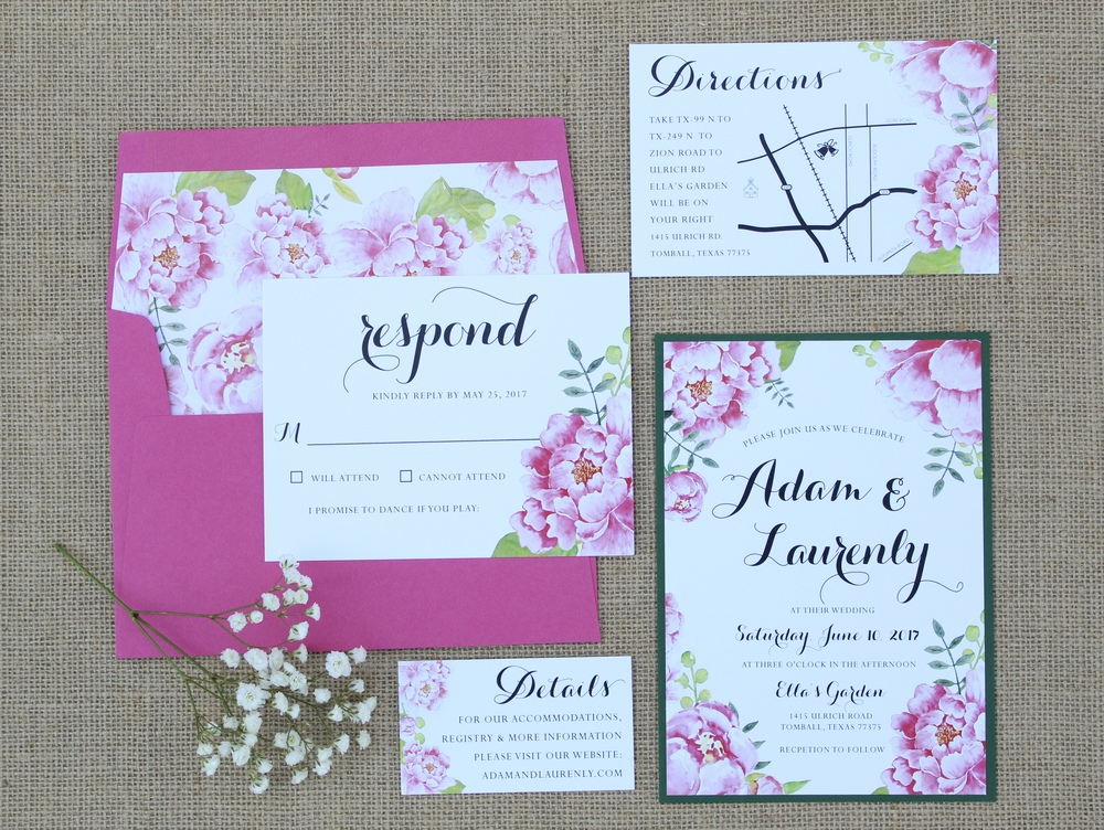 pink floral layered invitation