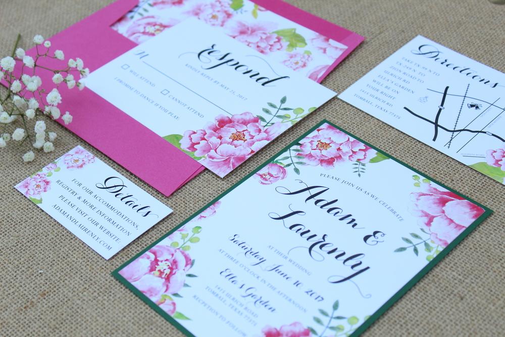 pink floral invitation suite