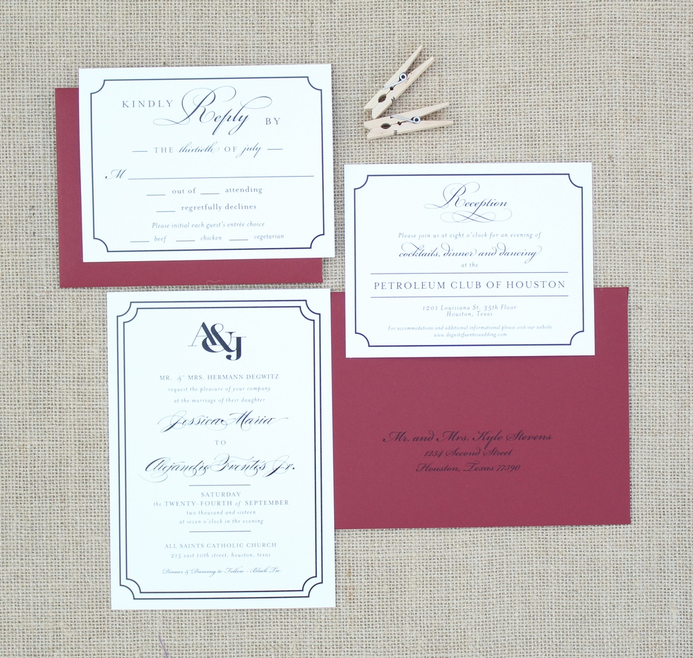black and red invitation suite with monogram